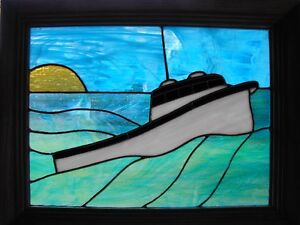 Island made stained glass lobster boat panel