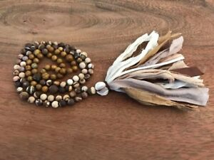 handknotted jasper mala with recycled silk sari tassel