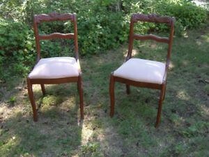 2  Antique  Mahogany  Dining Side  Carved Acorn Design Chairs.