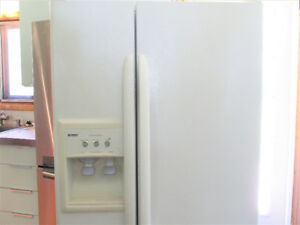 White Kenmore Refridgerator, side by side w/ Water & Ice