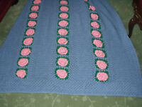 Vintage English Country Garden CROCHETED ROSES Afghan