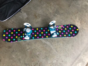 Women's K2 Snow Board and Burton Boots, with carrying bag
