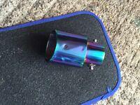 Purple/blue tail pipe