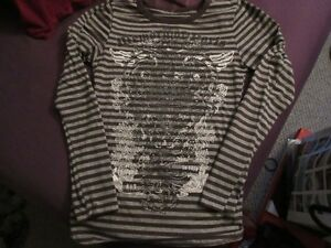 Striped graphic long sleeve shirt