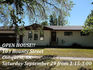 OPEN HOUSE!  103 Bounty Street, Conquest SK