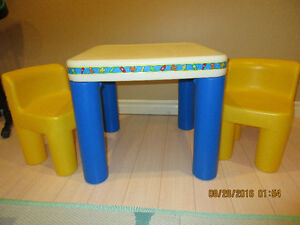 Childrens Table and Chair Set and Doll Stroller for Sale