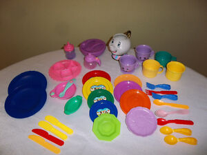 Assorted Play Dishes and Cutlery - 38 Items