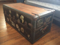 Antique 1920's Steamer Trunk Coffee Table