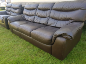 3&2 seater brown leather sofas