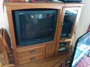 Solid wood TV stand with television included