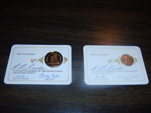 Franklin Mint Collectors Society Membership Cards with Coin