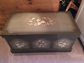 Hand painted vintage style trunk chest