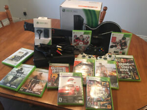 Xbox 360 Controllers, Spare Controller Batteries, Games, Guitar