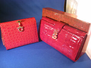 Vera Pelle Red Genuine Leather Wallets/Change Purses