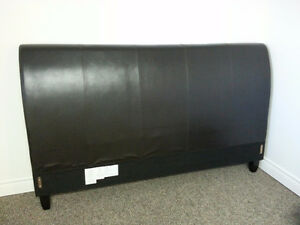 Brown Bonded Leather & Wood Headboard (King or Queen)