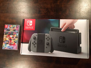 Brand New Nintendo Switch Grey + Mario Kart 8 Deluxe (sealed!)