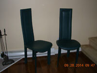 2 jade leather dining room chairs,comfortable,stain/smoke free