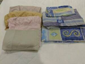 Queen bed quilt covers, fitted sheets, pillow cases