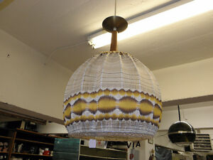 Mid Century Teak Retro Cloth Pendant Hanging Light Vintage Works