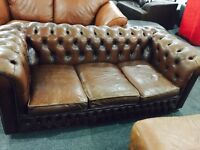 Vintage brown leather 3 and 2 sofas