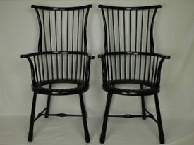 Arts and Crafts ebonised Spindleback armchairs