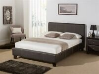 Brown Faux Leather Double Bed (Remy) - Second Hand but in Good Condition (mattress not included)