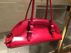 "Red Leatherette ""L CREDI"" Design Handbag"