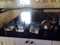 Never used tea kettle and small square vases