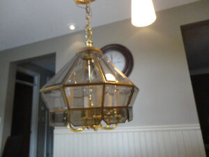 Smoked leaded Glass Style Hanging Light Fixture - Great Shape Kitchener / Waterloo Kitchener Area image 2