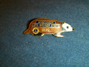 WISCONSIN THE BADGER STATE-VINTAGE 1979 LION'S CLUB PINBACK