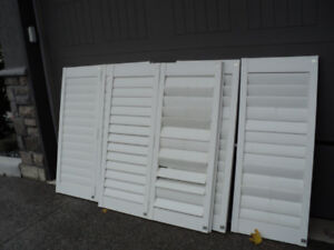 2 sets of vinyl shutters - indoor outdoor use - dimensions in ad