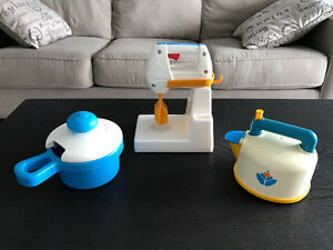 """Vintage Fisher Price """"Fun with Food"""" Kettle, Mixer, and Pot!"""