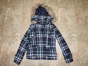 BLUENOTES blue & white plaid jacket with hood (size medium)