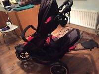 Phil & Teds Explorer Double Buggy + extras