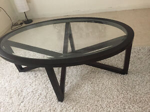 Black rimmed glass coffee table