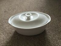 White ceramic lidded casserole dish