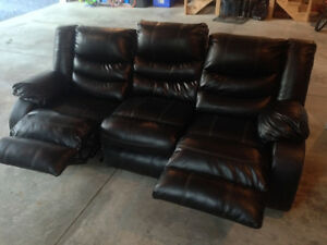 New leather recliner set with big screen and tables
