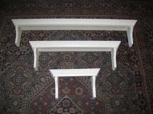 3 White decorative wall shelves