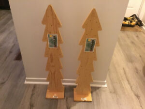 2 New Commercial Wooden Christmas Trees