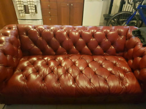Tufted Real Leather Sofa