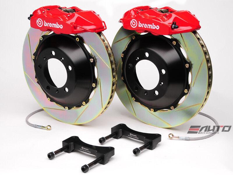 Brembo Rear Gt Brake 4pot Caliper Red 345x28 Slot Rotor For G35 350z Fairlady