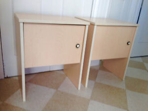 Beautiful Set of End tables, light birch finish with cupboard