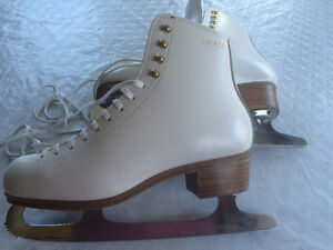 Quality Leather White Figure Skates/ leather bottoms too SZ 8.5