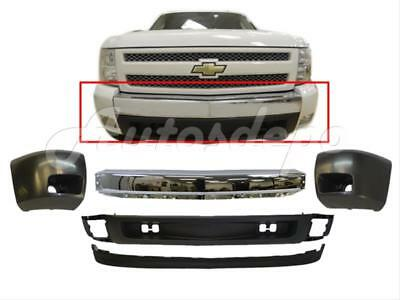 FOR 2007-13 SILVERADO 1500 FRONT BUMPER CHR FACE BAR END VALANCE W/FOG HOLE 5PCS