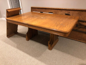 Solid Oak Kitchen/Dining Table with Extension and 6 chairs