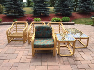 2 Rattan chairs and a coffee table
