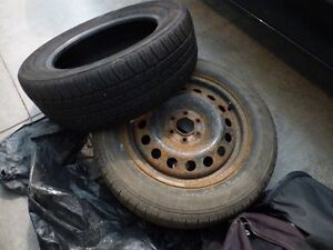 RIM AND TWO TIRES