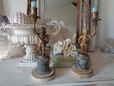 Paar antiker KERZENLEUCHTER Bronze Empire Frankreich