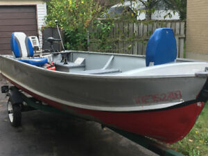 Aluminum boat with 25 hp johnson