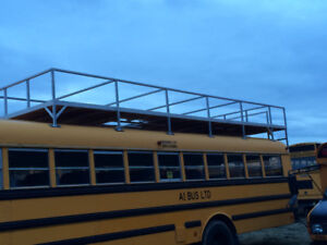 Bus with aluminum roof rack